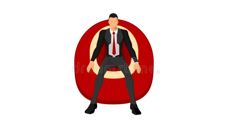 Ein Mann in der ordentlichen Kleidung und in einer Klage sitzt, ein Schaumsofa genießend lizenzfreie abbildung