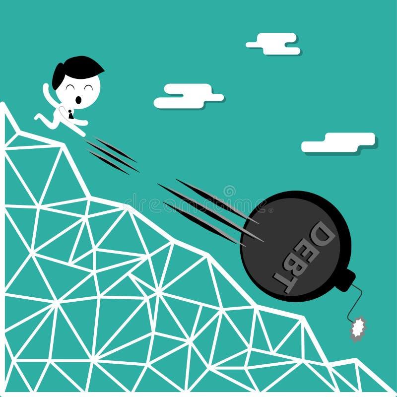 Ein Mann, der unten Hügel der Schuldbombe, Finanzfreiheit tritt vektor abbildung