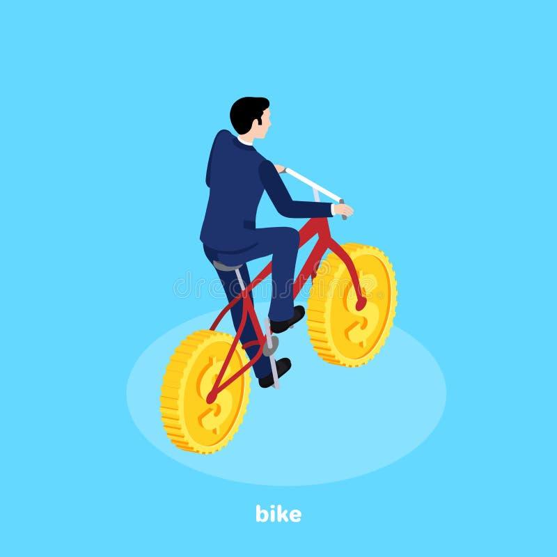 Ein Mann in einem Anzug fährt Fahrrad mit Münzen anstelle der Räder lizenzfreie abbildung