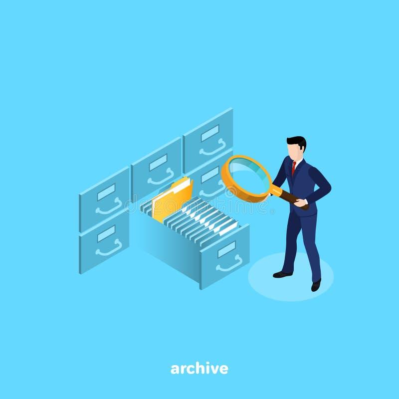 Ein Mann in einem Anzug mit einem Vergrößerungsglas, das nach einer Datei auf den Regalen des Archivs sucht stock abbildung