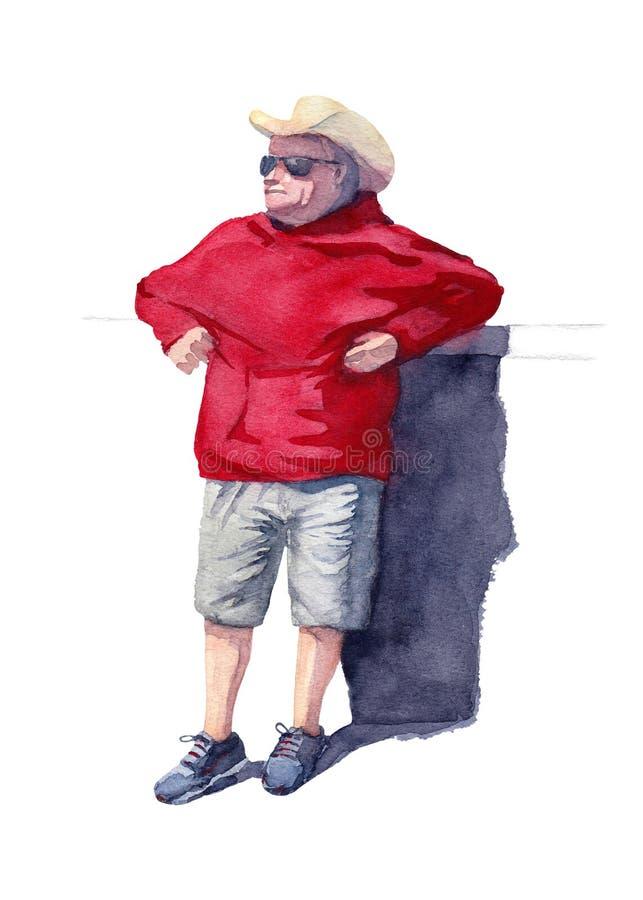 Ein Mann in einem gelben Cowboyhut und in einer schwarzen Sonnenbrille, die auf dem Stangenzähler sich lehnen Cowboy im roten Hoo lizenzfreie abbildung