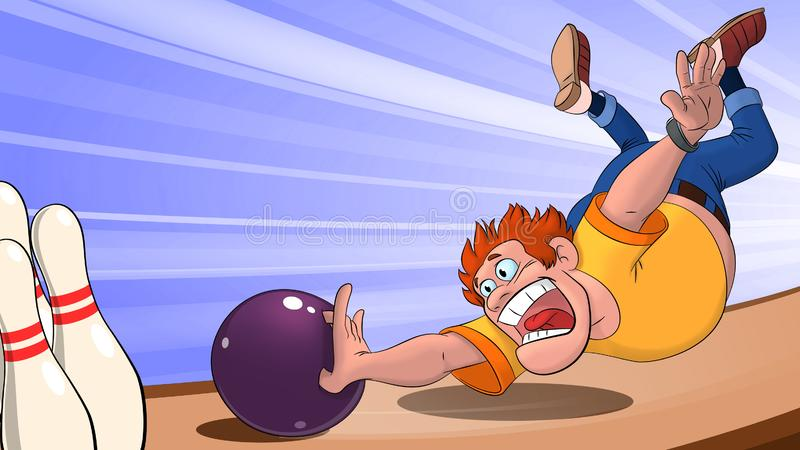 Ein Mann in einem gelben T-Shirt wirft eine Bowlingkugel und Fälle auf die spielende Bahn, ein Mann, der Bowlingspiel auf einem b stock abbildung