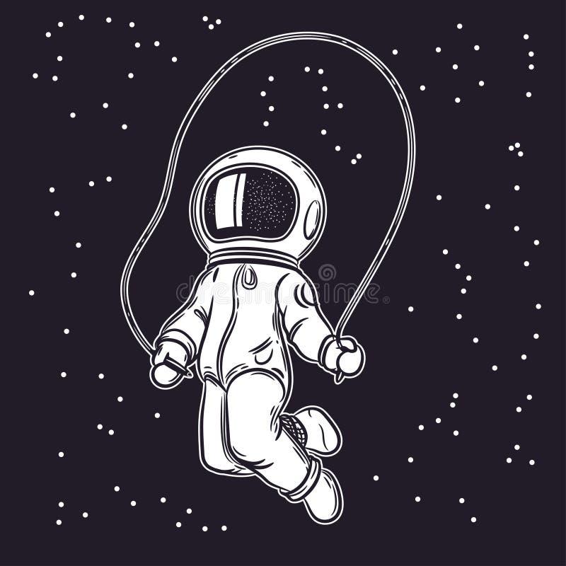 Ein Mann in einem Raumanzug Raumvektorillustration stock abbildung