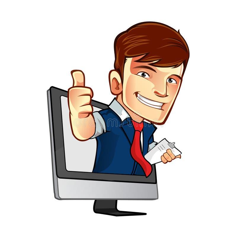 Ein Mann erschien vom Computer stock abbildung