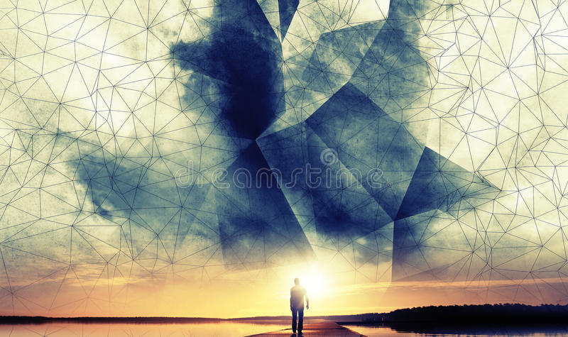 Ein Mann geht zur Sonne unter digitalen Himmel des Drahtrahmens 3d stock abbildung
