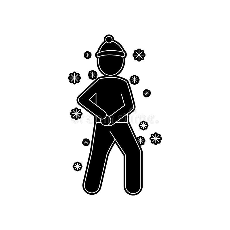 ein Mann macht eine Schneeballikone Element des Winters f?r bewegliches Konzept und Netz Appsikone Glyph, flache Ikone f?r Websit lizenzfreie abbildung