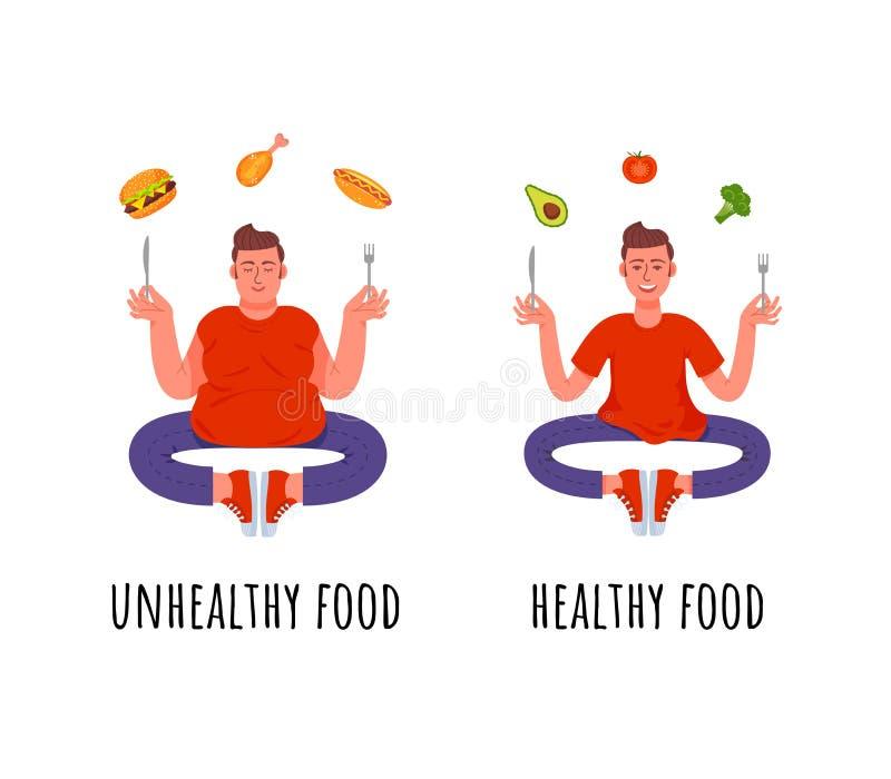 Ein Mann mit einer gesunden Mahlzeit und ein Mann mit einer ungesunden Fertigkost lizenzfreie abbildung