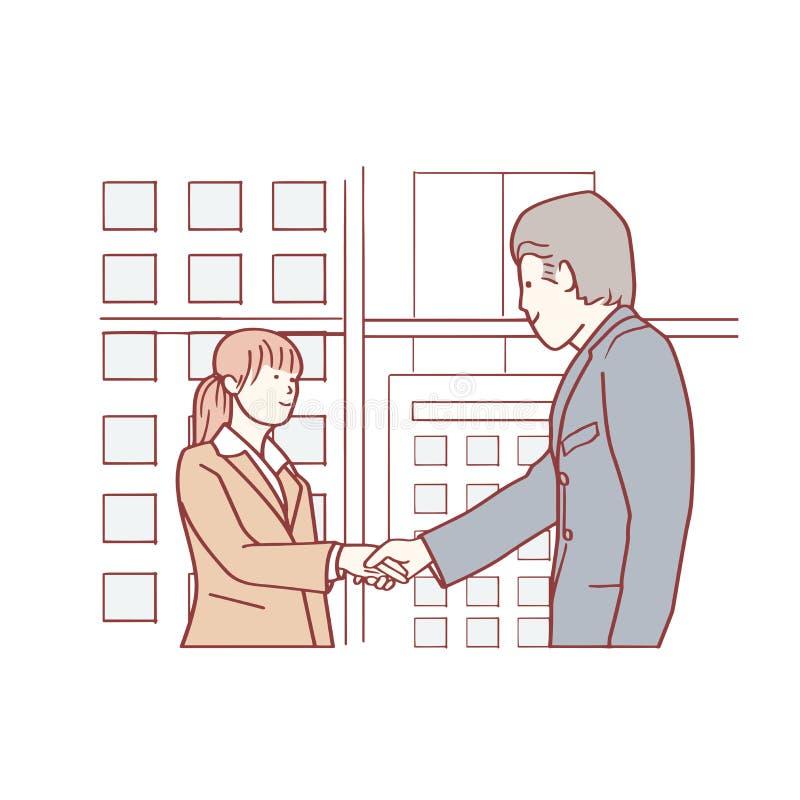 Ein Mann rüttelt Hände mit seinem weiblichen Manager stock abbildung