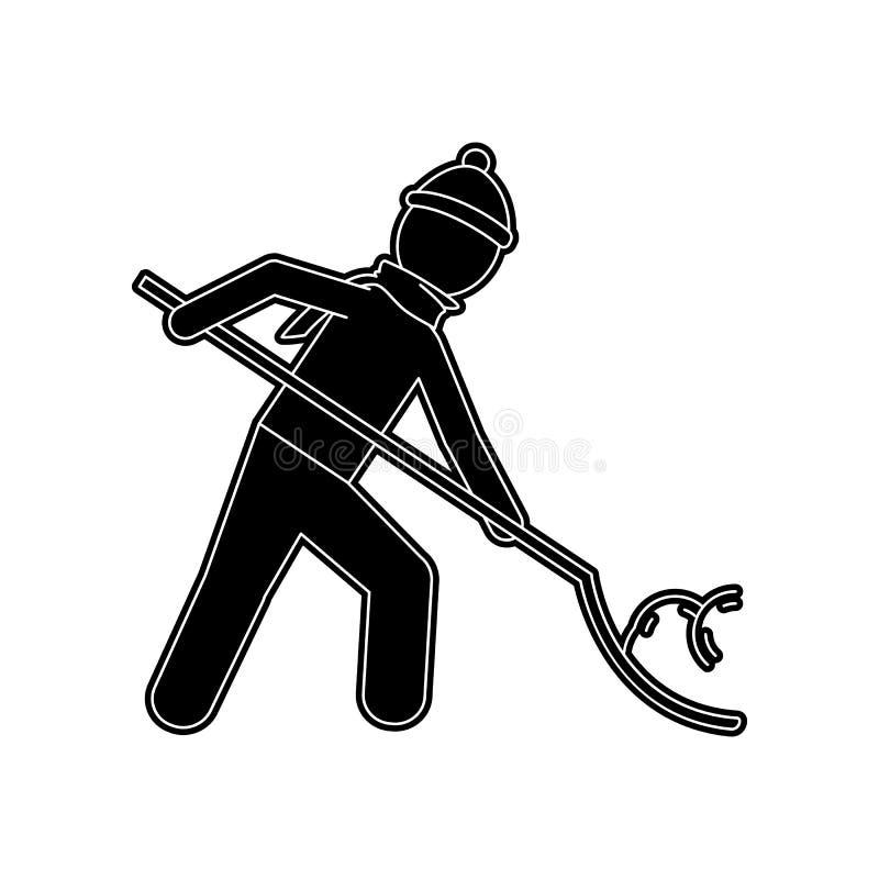 ein Mann s?ubert den Schnee mit einer Schaufelikone Element des Winters f?r bewegliches Konzept und Netz Appsikone Glyph, flache  lizenzfreie abbildung
