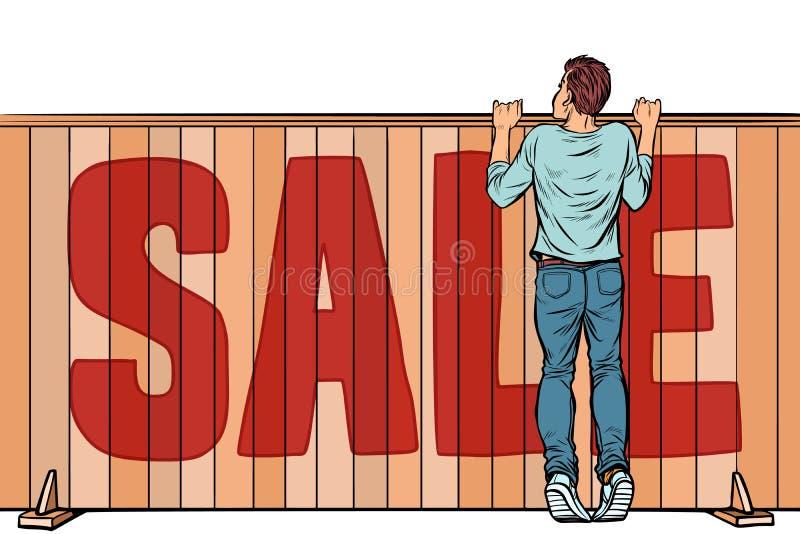 Ein Mann schaut über dem Zaun Immobilien des Verkaufshauses stock abbildung