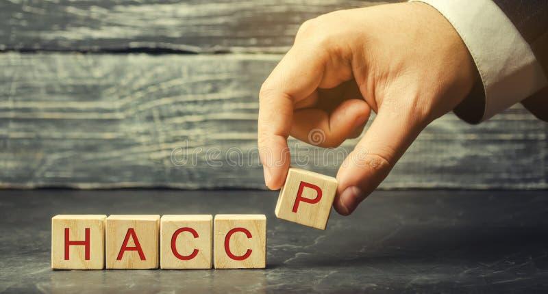Ein Mann setzt Holzkl?tze mit dem Wort HACCP Gefahrenanalyse und kritische Abfertigungsschalter Qualit?tssicherungsregeln f?r Nah lizenzfreie stockfotografie