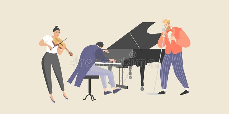 Ein Mann singt zur Begleitung eines Klaviers und der Violine lizenzfreie abbildung