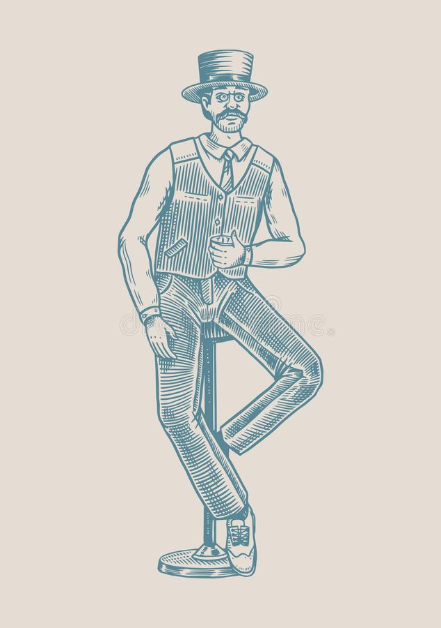 Ein Mann sitzt auf einem Barstuhl mit einem Glas Whiskey Vintage Victorian Elegante Gentleman mit Strong Alcohol Drink Hand vektor abbildung