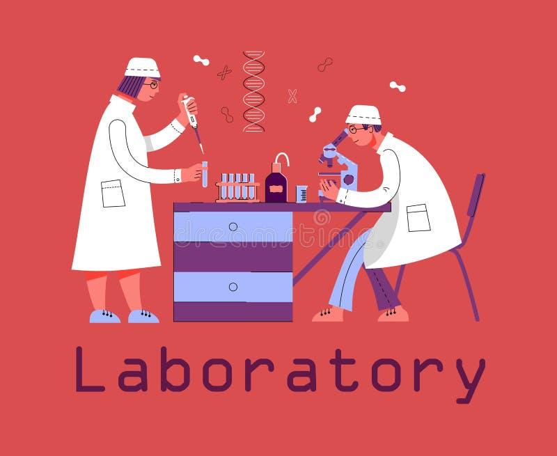 Ein Mann und eine Frau in der Uniform arbeiten in einem Labor Chemisches und biologisches Labor lizenzfreie abbildung