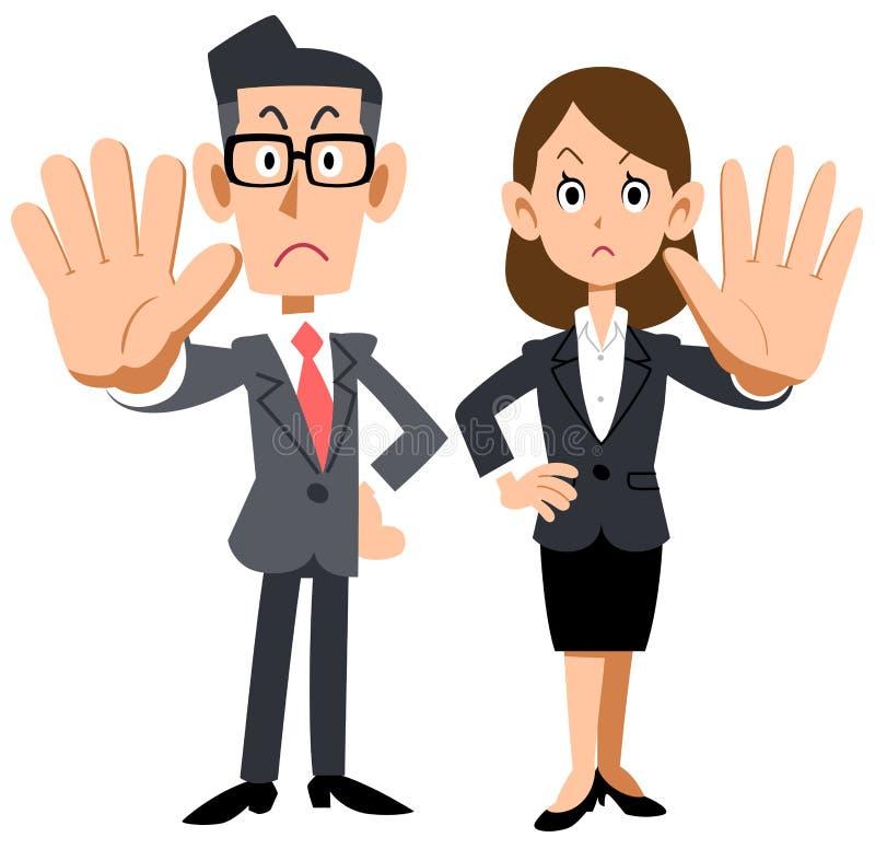 Ein Mann und eine Frau eines Büroangestellten, der eine Ablehnung aufwirft lizenzfreie abbildung