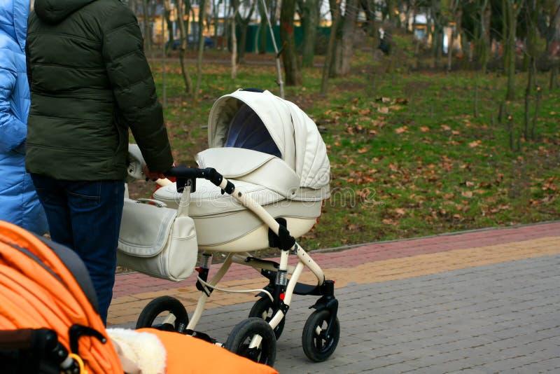 Ein Mann und eine Frau gehen mit einem Spaziergänger lizenzfreie stockbilder