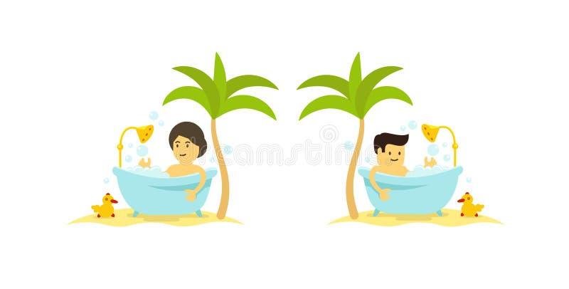 Ein Mann und eine Frau nimmt ein Bad Dusche im Badezimmer Baden des Zeitentspannung Vektorkarikaturart stock abbildung