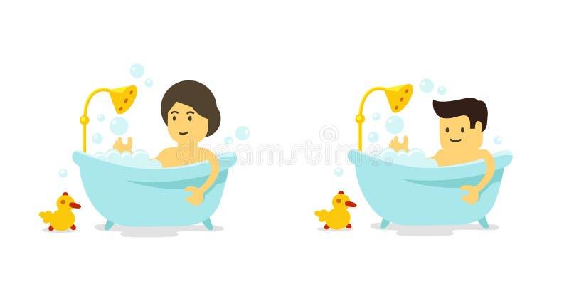 Ein Mann und eine Frau nimmt ein Bad Dusche im Badezimmer Baden von Zeit Vektorkarikaturart stock abbildung