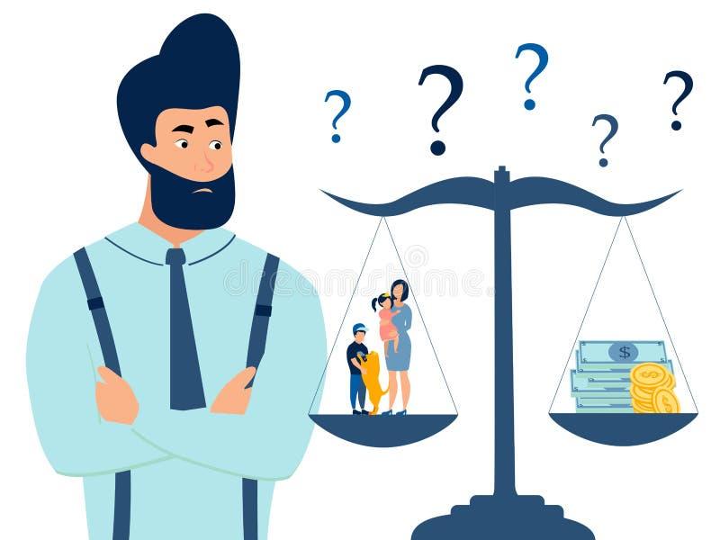 Ein Mann wählt zwischen Familie und Arbeit Skalen der Wahl Flache Art Karikaturvektor lizenzfreie abbildung