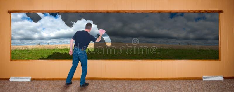 Frühjahrsputz-Fahne, Mann, der Windows wäscht stockbild
