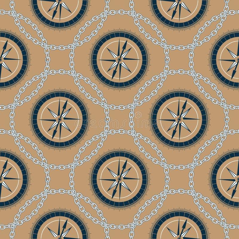 Ein Marinekompaß in einem Rahmen einer Kette Hintergrund im nahtlosen Muster der Seeart lizenzfreie abbildung