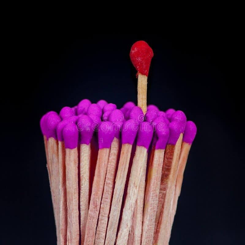 Ein Matchstick, der vorbei von der Gruppe steht, stockfotografie