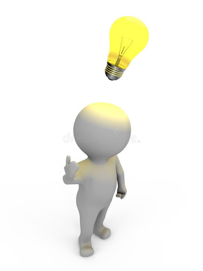 Ein Mensch hat eine Idee - ein Bild 3d lizenzfreie abbildung