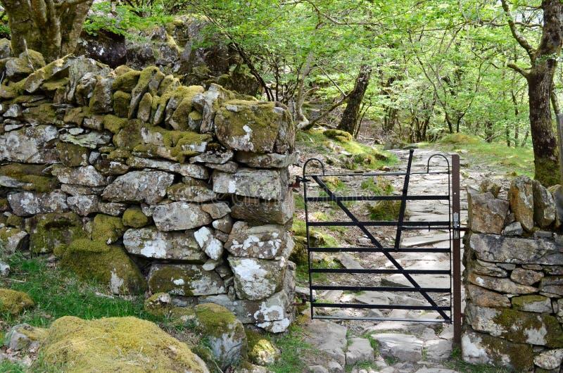 Ein Metalltor durch eine Steinwand und einen felsigen Weg in Waldland lizenzfreies stockbild