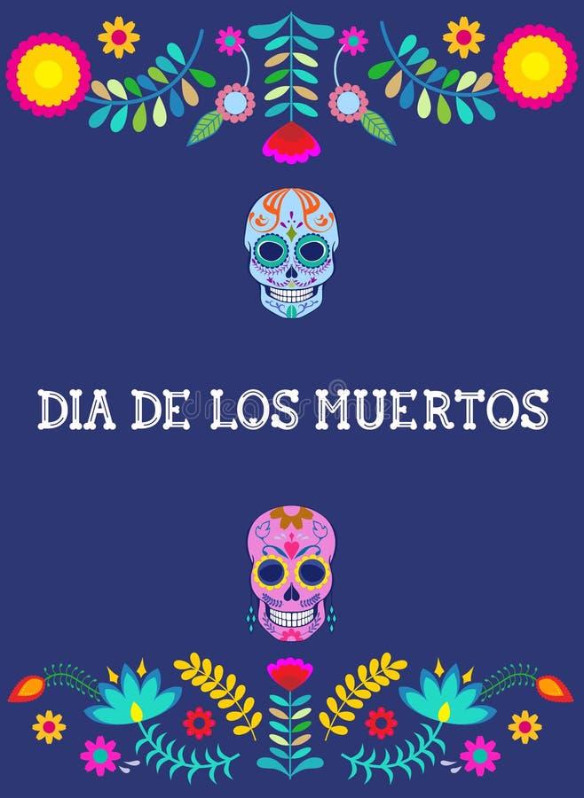 Ein mexikanischer Tag der toten Vektor-Postkarte stockfotos
