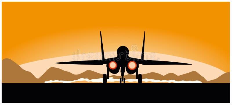 Ein Militärflugzeug des Fliegens auf einem Sonnenunterganghintergrund lizenzfreie abbildung