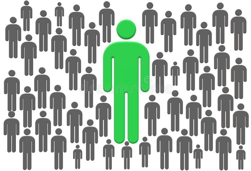 Ein in Million - eine Stellung des unerfahrenen Mitarbeiters unter grauem Mannsymbol-Zeichenlogo vektor abbildung
