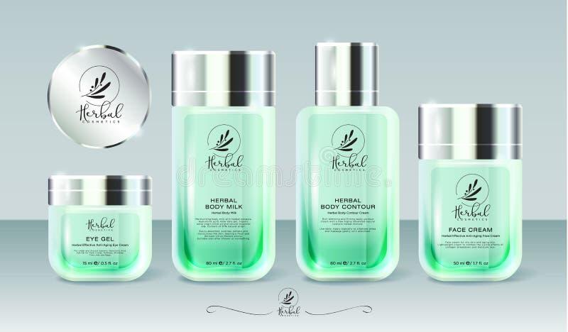 Ein Modell eingestellt einschließlich das kosmetische Verpacken Gläser, Kappen und Flaschen für Kräuter sahnt lizenzfreie abbildung