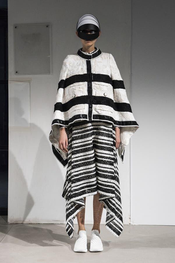 Ein Modell geht die Rollbahn während der Anrealage-Show als Teil der Paris-Mode-Woche lizenzfreie stockfotos