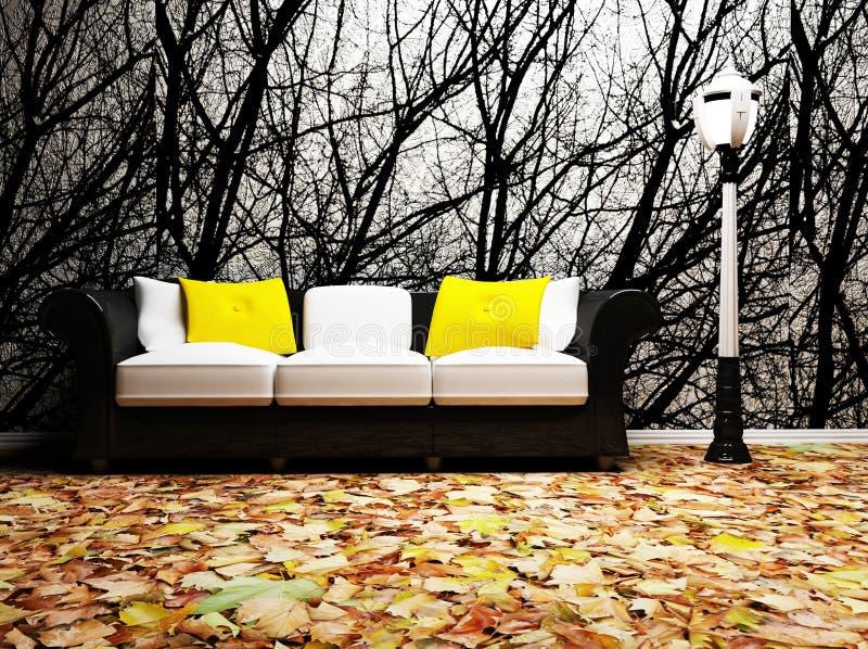 Ein moderner Innenraum mit einem Sofa und einer Lampe lizenzfreie abbildung