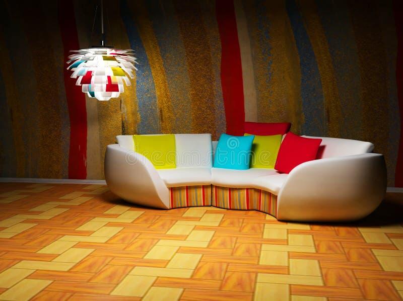 Ein moderner Innenraum mit einem Sofa und einer Lampe stock abbildung