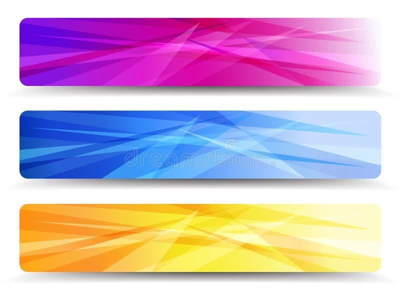 Ein moderner Satz Netz-Fahnen mit abstraktem backgrou lizenzfreie abbildung