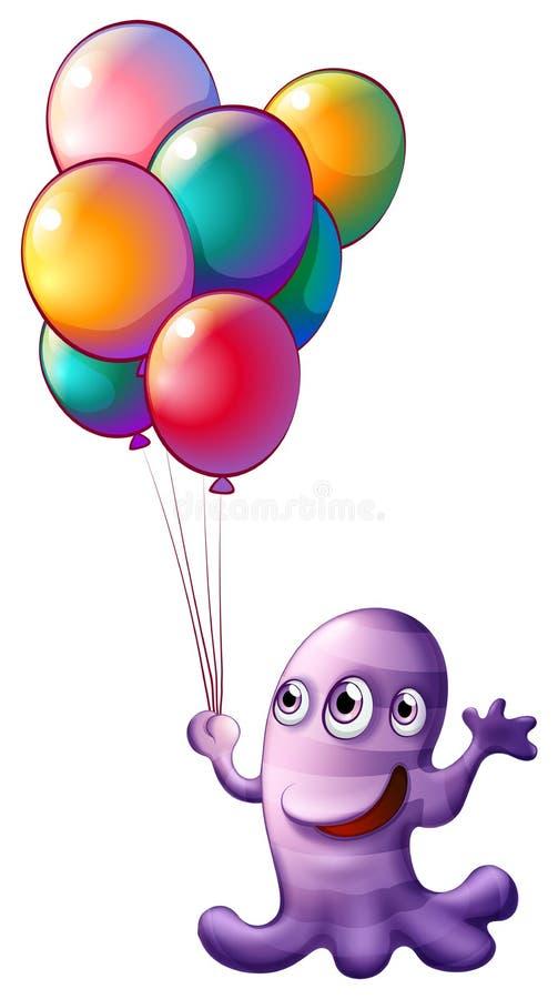 Ein Monster, das Ballone hält lizenzfreie abbildung