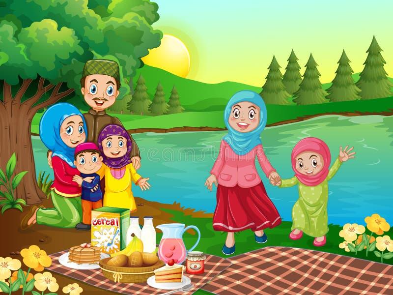 Ein moslemisches Familienpicknick in der Natur lizenzfreie abbildung