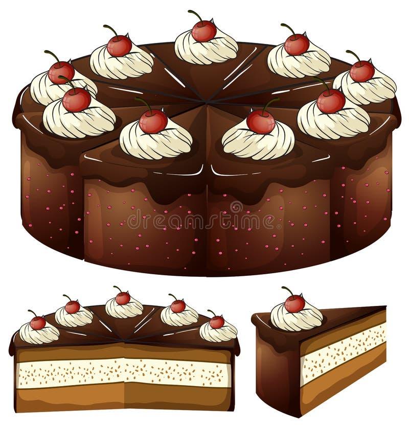 Ein mouthwatering Schokoladenkuchen vektor abbildung