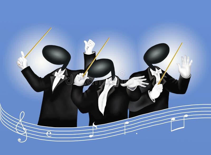 Ein Musikleiter mit musikalischen Anmerkungen und stichhaltigem Wav lizenzfreie abbildung