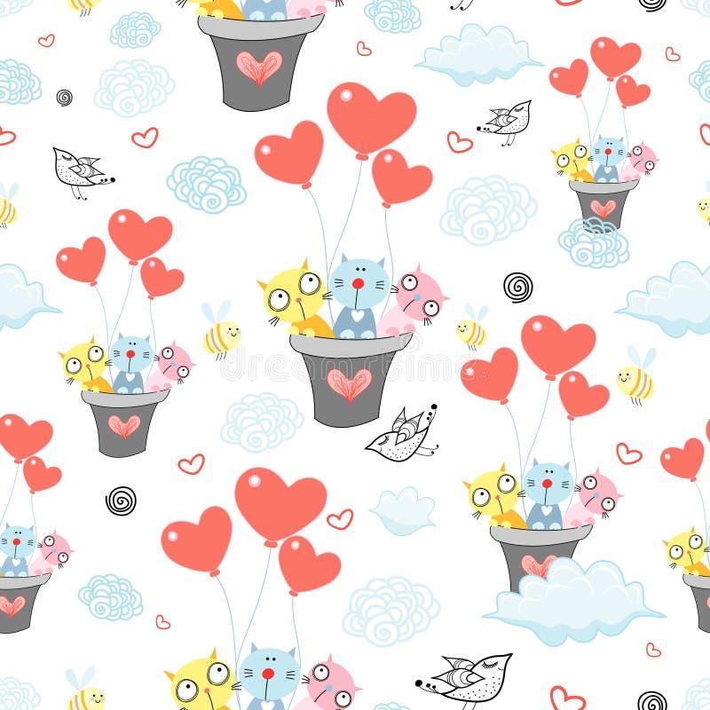 Ein Muster der lustigen Katzen in den Ballonen lizenzfreie abbildung