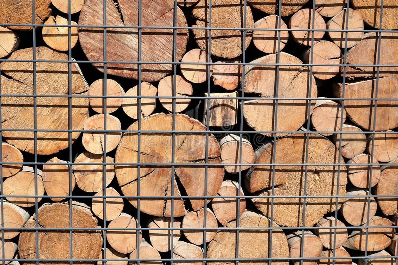 Ein Muster von den Enden von Holzbalken des Kreisquerschnitts lizenzfreie stockfotografie