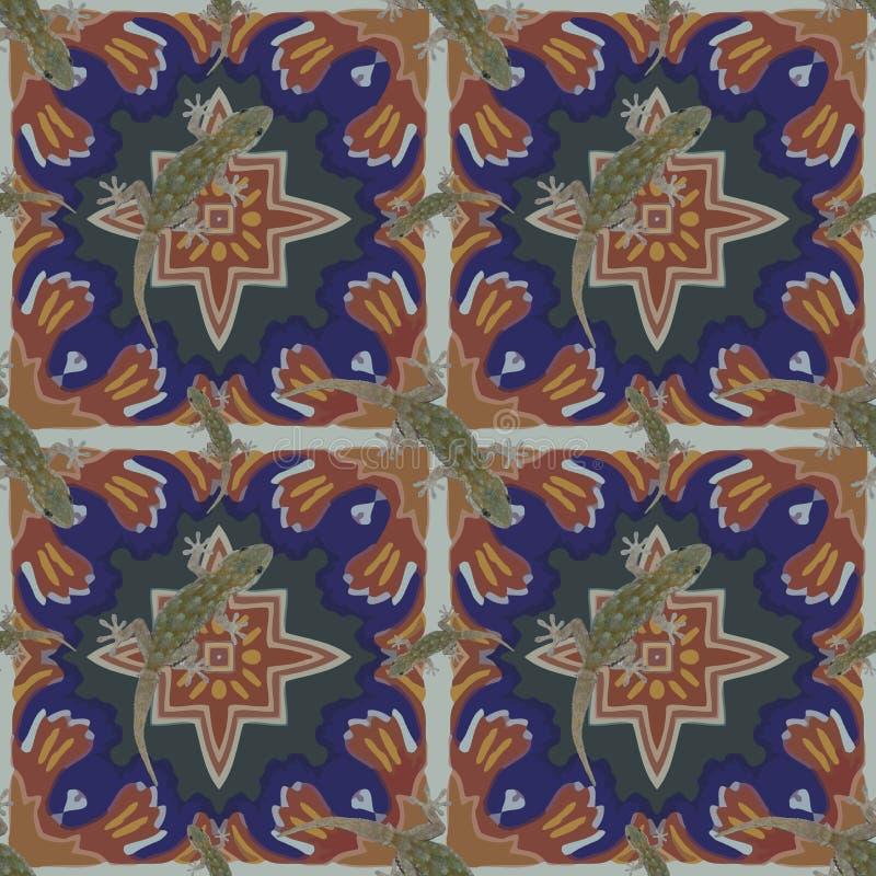 Ein nahtloses Muster, im marokkanischen Design, gemacht von den marokkanischen Fliesen, mit einem Salamander stockfotografie