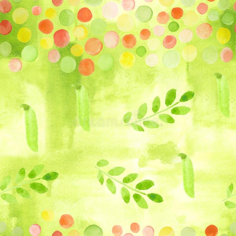Ein nahtloses Muster mit Aquarellzeichnungen von grünen Frühlingserbsen, von bunten Kreisen, von Stellen und von Blättern Handgem vektor abbildung
