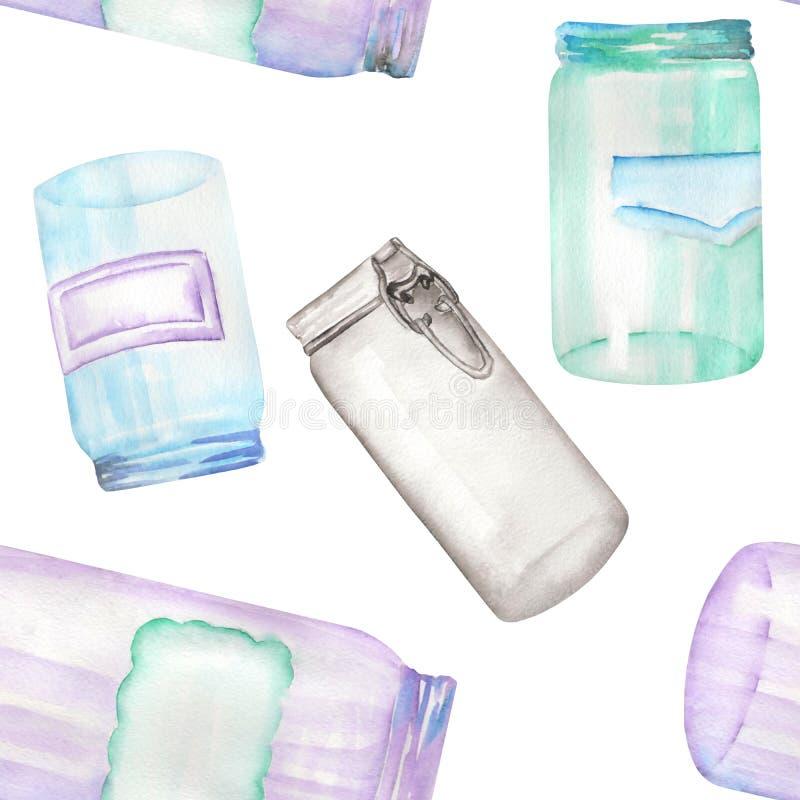 Ein nahtloses Muster mit den Glasgefäßen mit Aufklebern Von Hand gezeichnet gemalt in einem Aquarell vektor abbildung