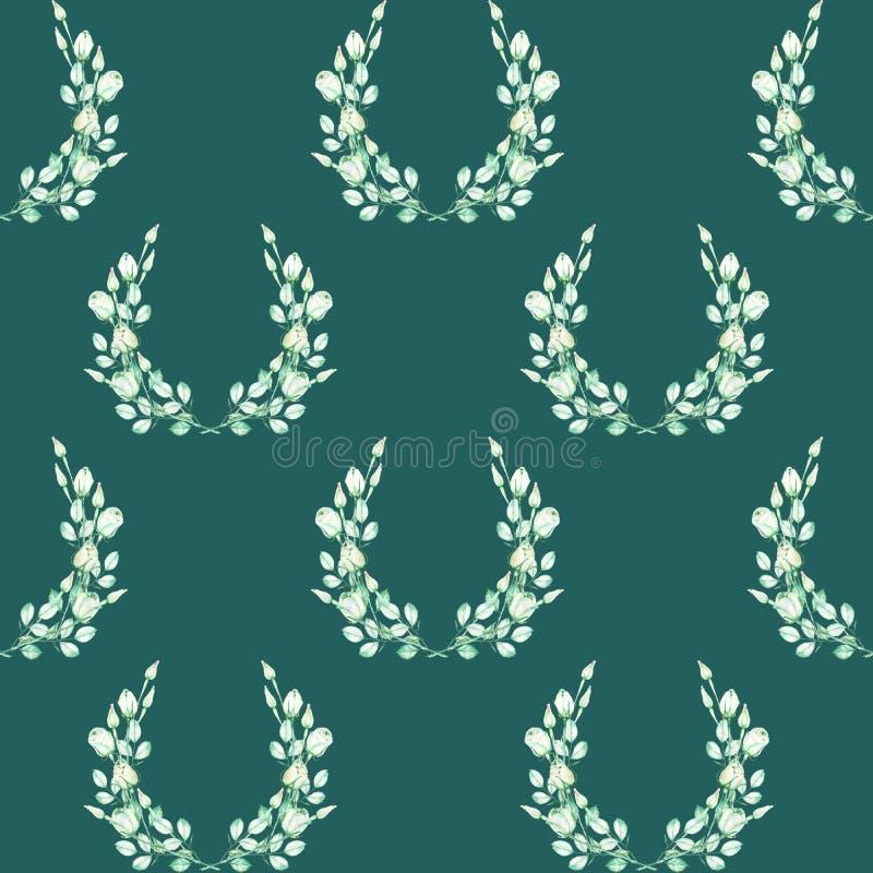 Ein nahtloses Muster mit den Kränzen der zarten grünen Rosen, gemalt in einem Aquarell auf einem dunkelgrünen Hintergrund stock abbildung