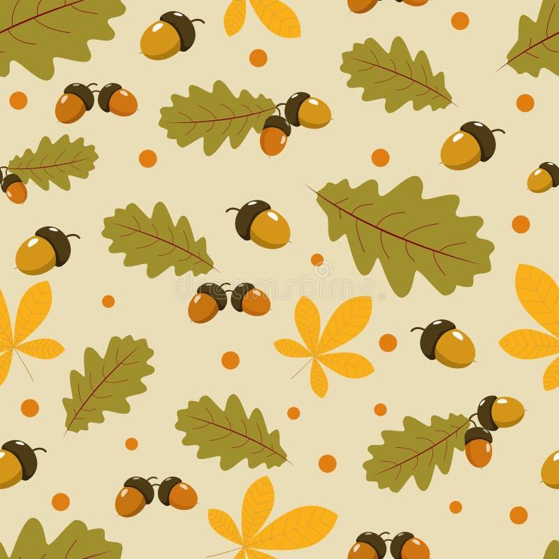 Ein nahtloses Muster mit Eichenblättern stock abbildung