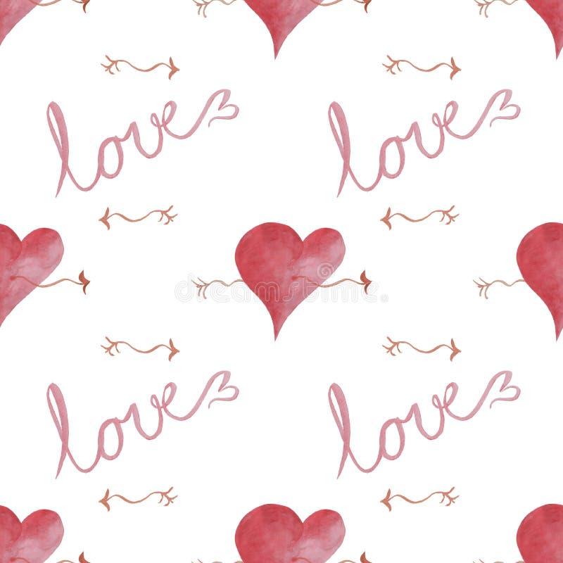 Ein nahtloses Muster mit Herzen und die Wortliebe und -pfeile stockbilder