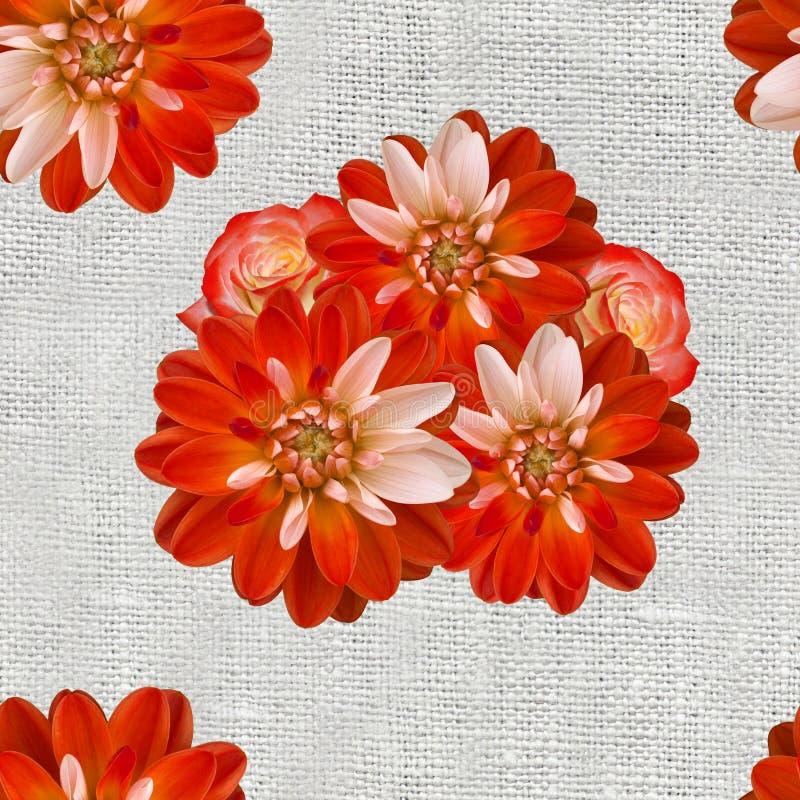 Ein nahtloses Muster mit roten Dahlienblumen und -rosen auf dem unscharfen Leinensegeltuchhintergrund Alte Weinleseartcollage lizenzfreie abbildung