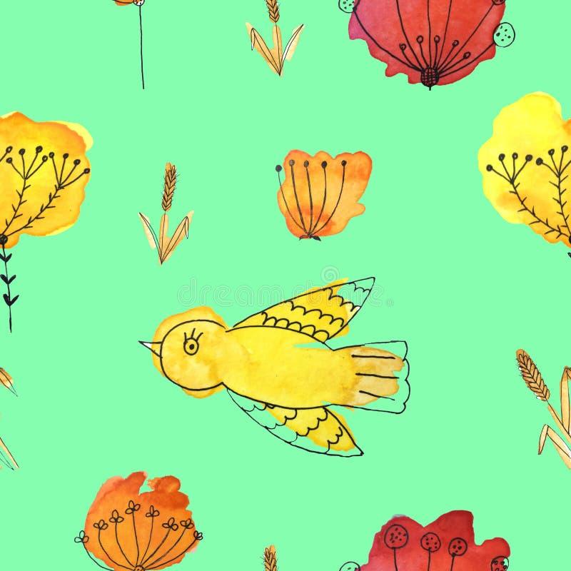 Ein nahtloses Muster mit Vögeln und Blumen auf einem grünen Hintergrund stockbilder